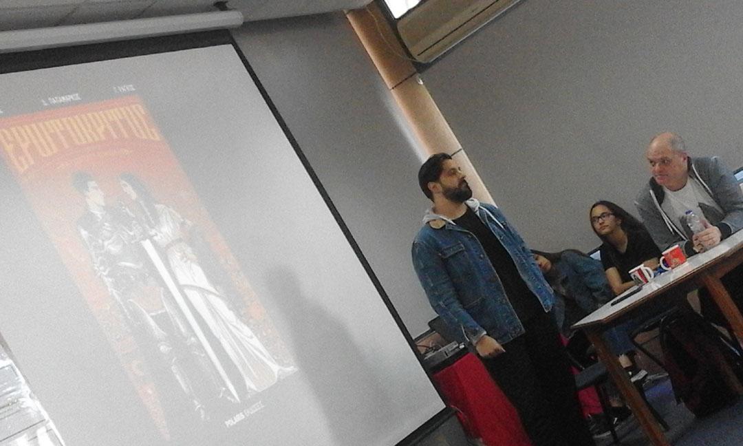Ο συγγραφέας Γιάννης Ράγκος και ο εικονογράφος Γιώργος Γούσης παρουσιάζουν το πολυβραβευμένο κόμικ τους Ερωτόκριτος στους μαθητές της Γ' Γυμνασίου-1