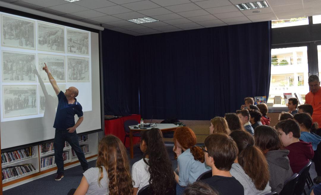 L'historien Tal Bruttman donne une conférence aux élèves du LFHED sur des archives photographiques d'Auschwitz-3