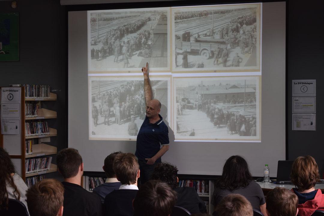 L'historien Tal Bruttman donne une conférence aux élèves du LFHED sur des archives photographiques d'Auschwitz-0