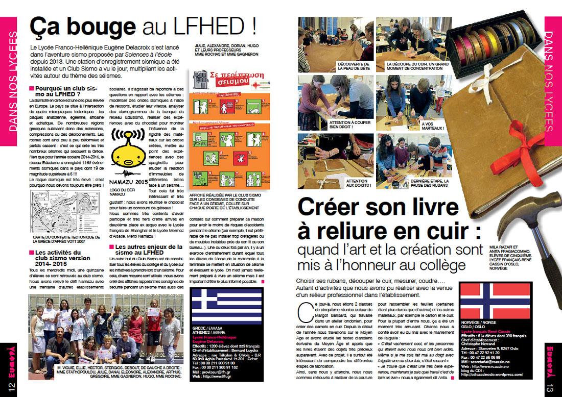 """""""Ça bouge au LFHED"""", l'article paru dans le n°6 de la revue Europa"""