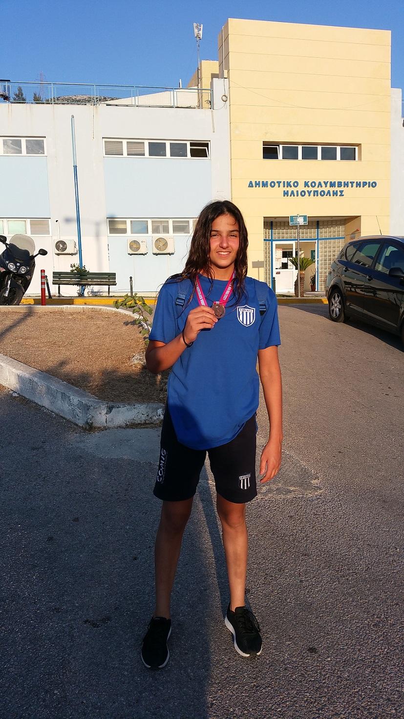 Eirini Markatseli, élève de Γ' Gymnase, remporte la médaille de bronze au championnat junior féminin de waterpolo-0