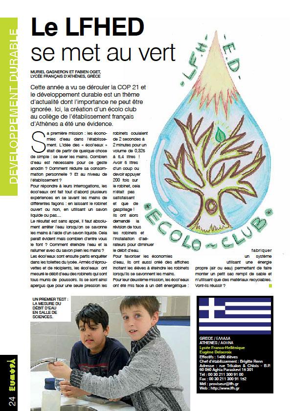« Le LFHED se met au vert », l'article paru dans le n°7 de la revue Europa