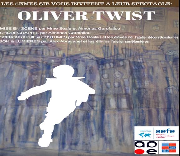Les élèves de 6e SIB vous invitent à leur spectacle d'OLIVER TWIST